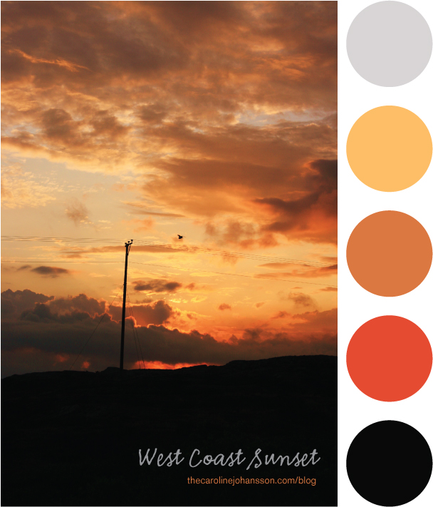 Color palette illustration during west coast sunset