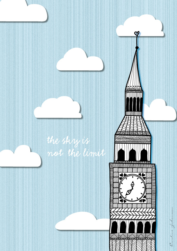 london digital illustration quote the sky is not the limit