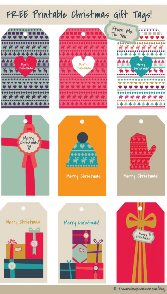 Free printable gift tags thecarolinejohansson christmas gift tags free printable negle Image collections